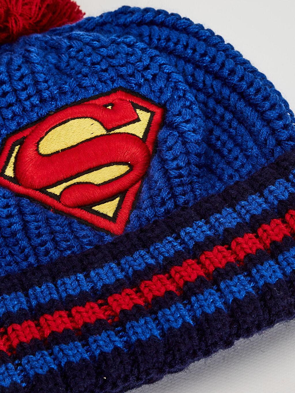 %100 Akrilik  Erkek Çocuk Süperman Triko Bere