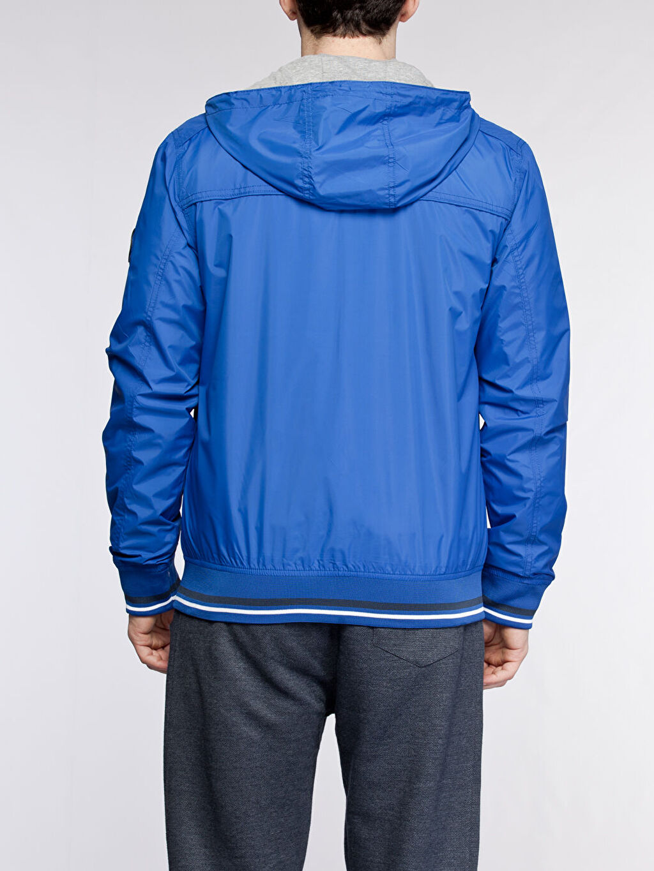 %100 Polyester %87 Polyester %13 Viskoz Dar Trençkot ve Yağmurluk Kısa Mavi Kısa Dar Yağmurluk