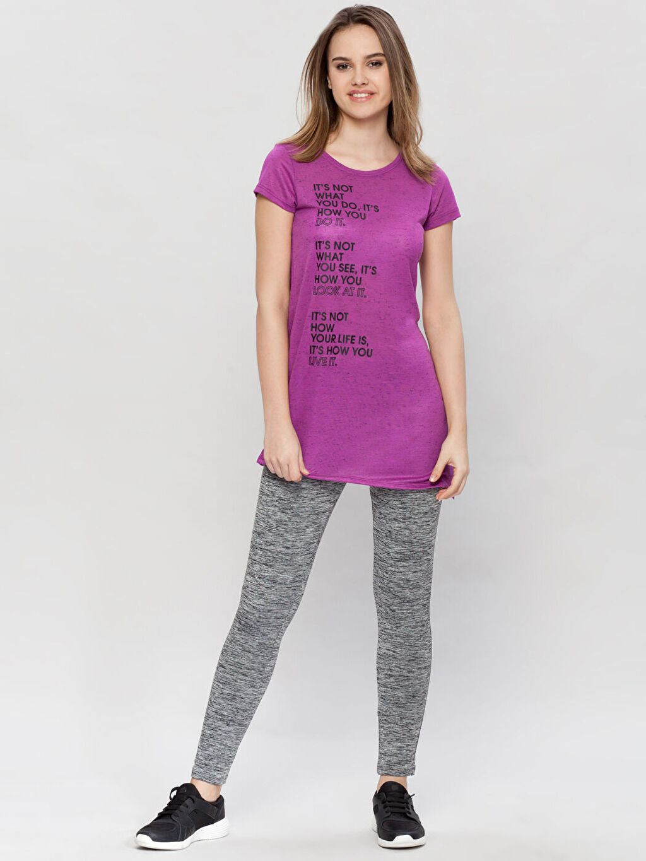 Kadın Mor Yanları Detaylı Tişört