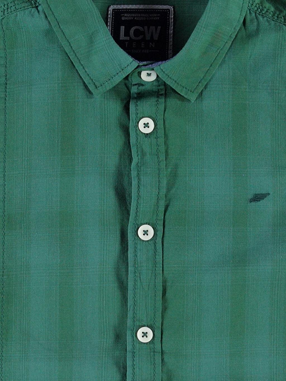Genç Erkek Yeşil Kareli Dar Uzun Kollu Gömlek