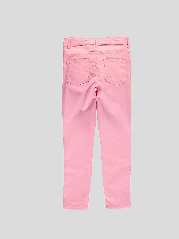 %67 Pamuk %28 Polyester %5 Elastan Yüksek Bel Dar Pembe Yüksek Bel Dar Pantolon