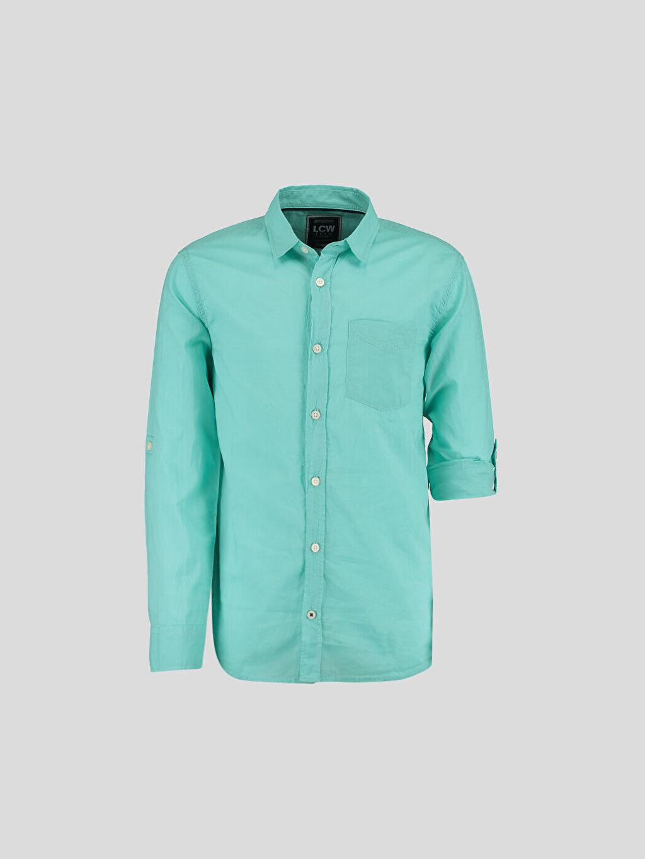 Yeşil Yeşil Düz Dar Uzun Kollu LCW Young Gömlek 6Y6165Z6 LC Waikiki