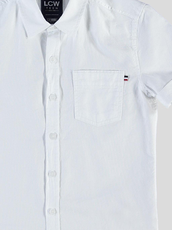 %100 Pamuk Kısa Kol Düz Dar Beyaz Düz Dar Kısa Kollu LCW Young Gömlek