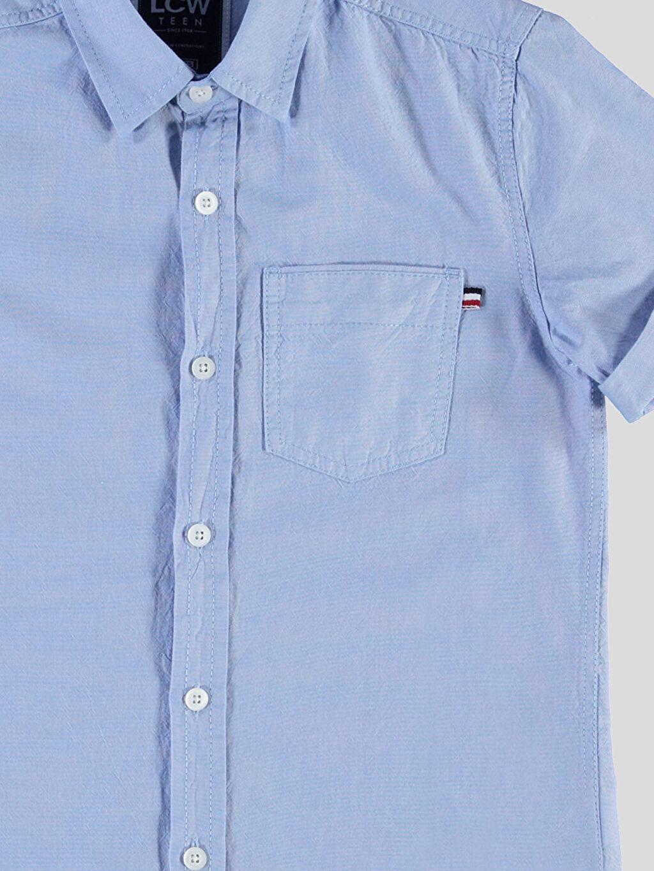 %100 Pamuk Kısa Kol Düz Dar Mavi Düz Dar Kısa Kollu LCW Young Gömlek