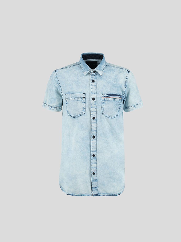 İndigo İndigo Düz Dar Kısa Kollu LCW Young Gömlek 6Y7203Z6 LC Waikiki