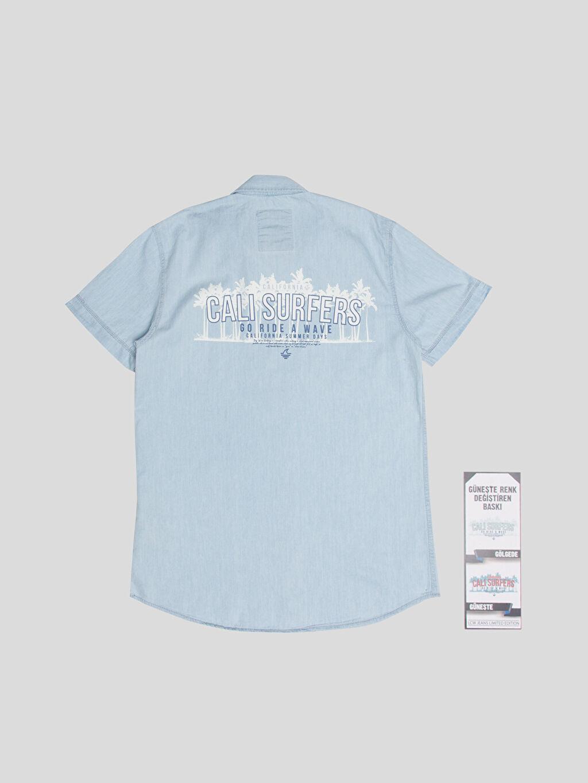 %100 Pamuk Kısa Kol Düz İndigo Düz Kısa Kollu Gömlek