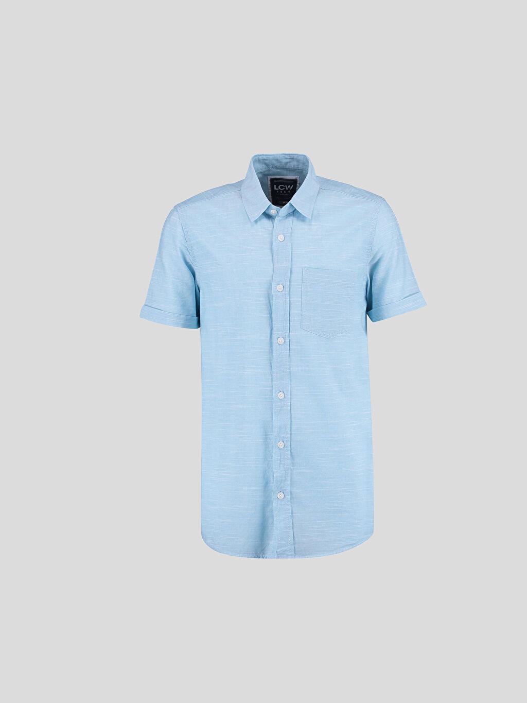 Mavi Mavi Düz Dar Kısa Kollu Gömlek 6YF850Z6 LC Waikiki
