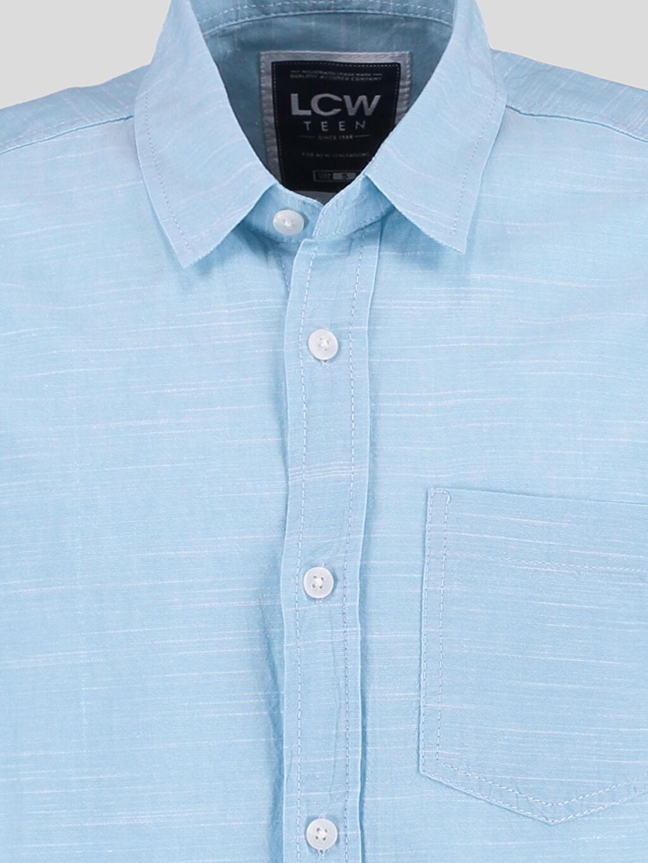 %100 Pamuk Düz Dar Kısa Kol Mavi Düz Dar Kısa Kollu Gömlek