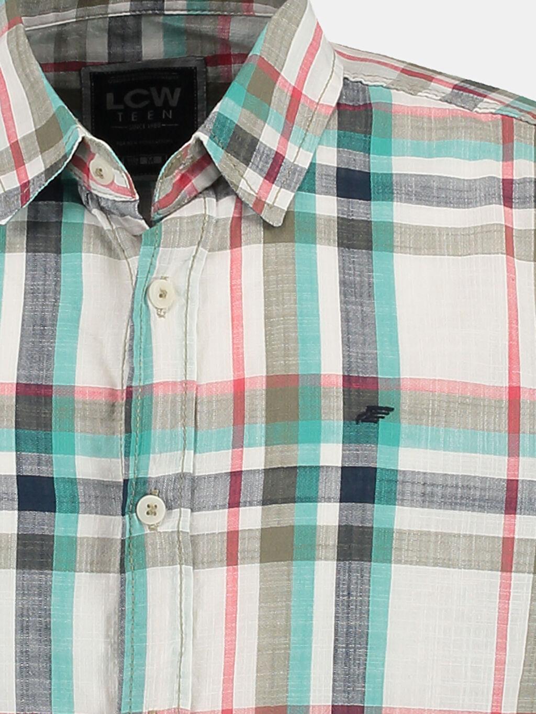 %100 Pamuk Kısa Kol Yeşil Kısa Kollu LCW Young Gömlek