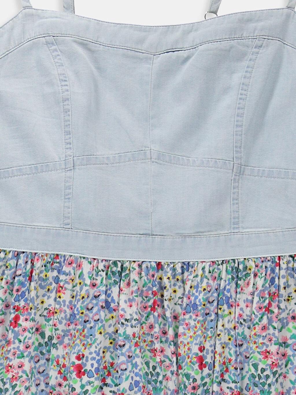 Genç Kız Ekru Desenli Elbise