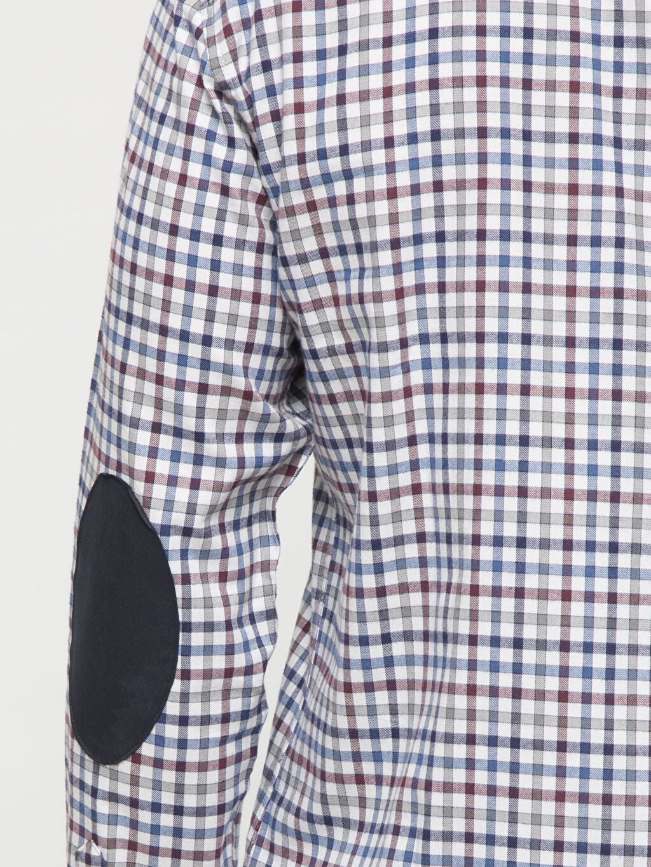 %100 Pamuk İndigo Kareli Dar Uzun Kollu Gömlek