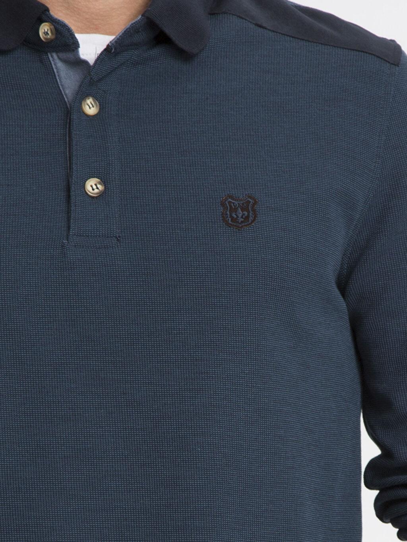 %48 Polyester %21 Viskoz %31 Akrilik Petrol Düz Uzun Kollu Polo Tişört