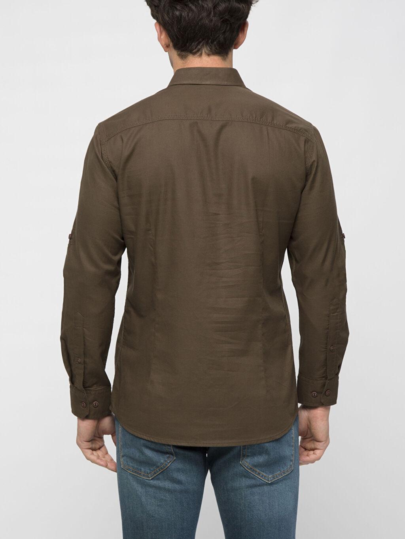 %100 Pamuk Uzun Kol Düz En Dar Gömlek Düğmeli Haki Düz Uzun Kollu Gömlek