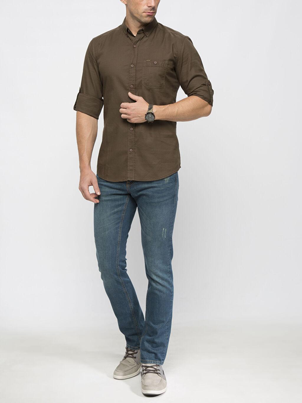 Erkek Haki Düz Uzun Kollu Gömlek