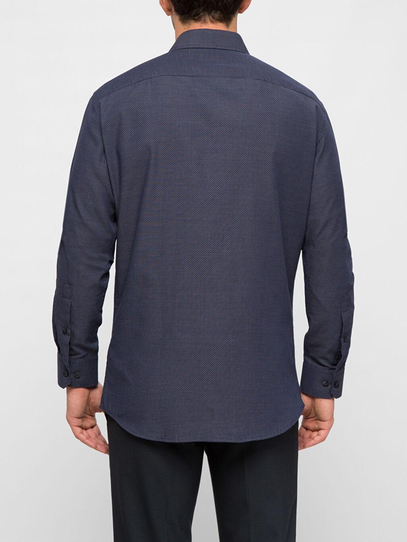 %54 Pamuk %46 Polyester Uzun Kol Dar Gömlek Düğmesiz Düz Uzun Kollu Gömlek