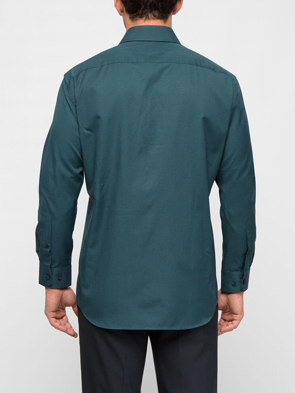 %62 Pamuk %38 Polyester Uzun Kol Düz Dar Gömlek Düğmesiz Petrol Düz Dar Uzun Kollu Gömlek