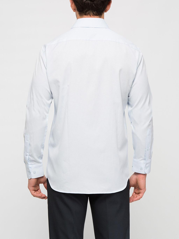 %62 Pamuk %38 Polyester Uzun Kol Düz Dar Gömlek Düğmesiz Mavi Düz Dar Uzun Kollu Gömlek