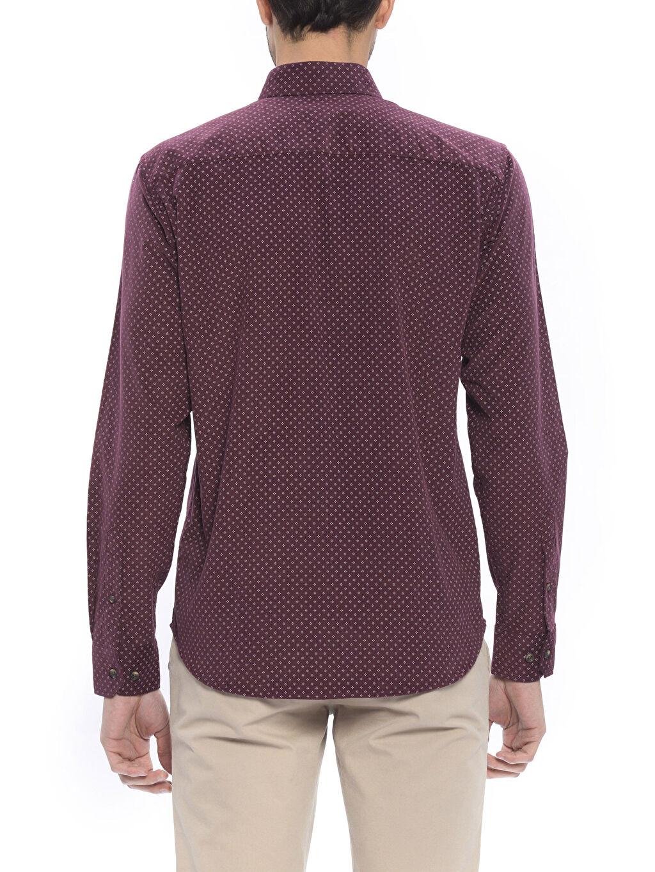 Normal Uzun Kol Gömlek Düğmeli Bordo Normal Uzun Kollu Gömlek