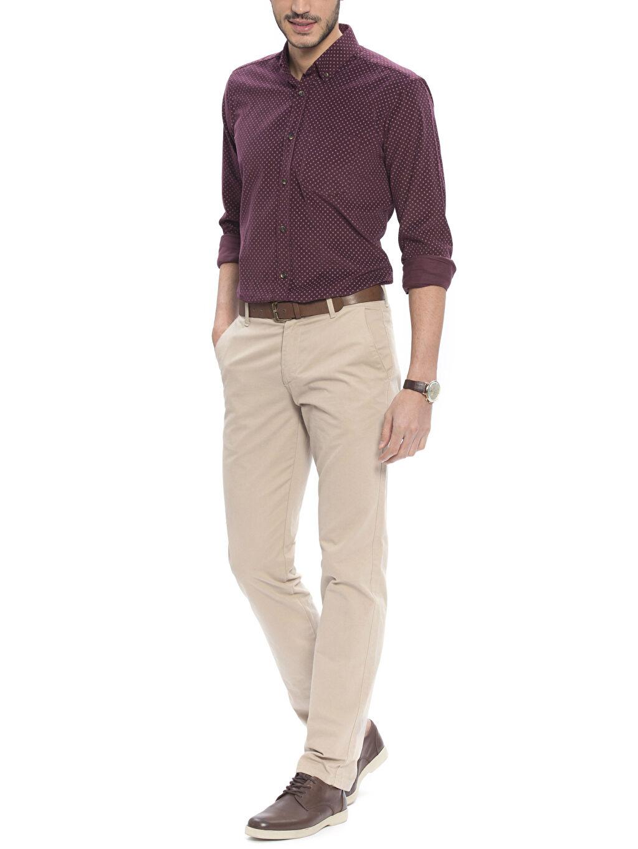 Erkek Bordo Normal Uzun Kollu Gömlek