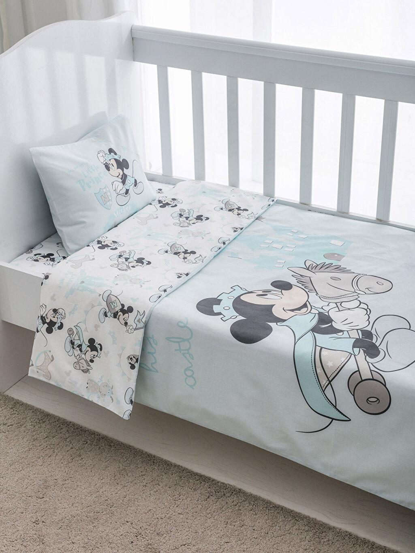 Mavi Mickey Mouse Çift Taraflı Bebek Nevresim Takımı 8WK996Z1 LC Waikiki