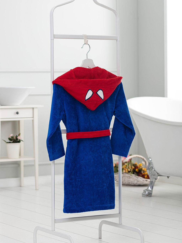 %100 Pamuk  Spiderman Lisanslı Kapüşonlu Çocuk Bornoz