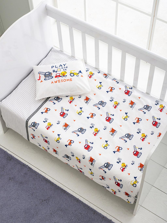 %100 Pamuk Bebek Nevresim Erkek Bebek Çift Taraflı Nevresim Takımı