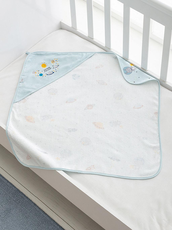 %100 Pamuk  Erkek Bebek Nakışlı Kadife Banyo Havlusu