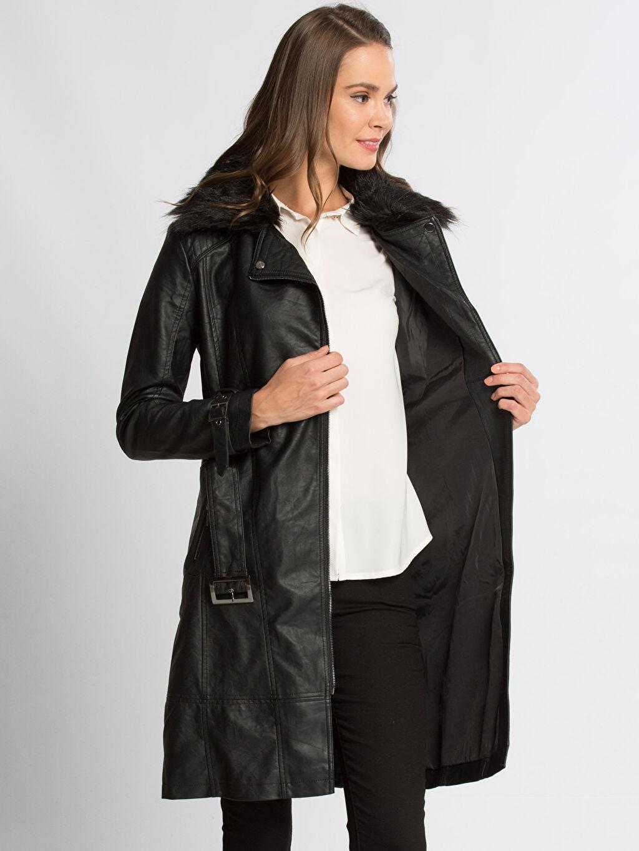 %100 Poliüretan %100 Polyester Orta Trençkot ve Yağmurluk Siyah Trençkot