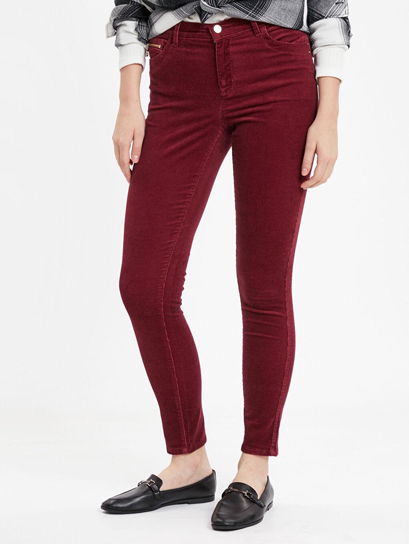 %98 Pamuk %2 Elastan Normal Bel Dar Pantolon Bordo Normal Bel Dar Pantolon