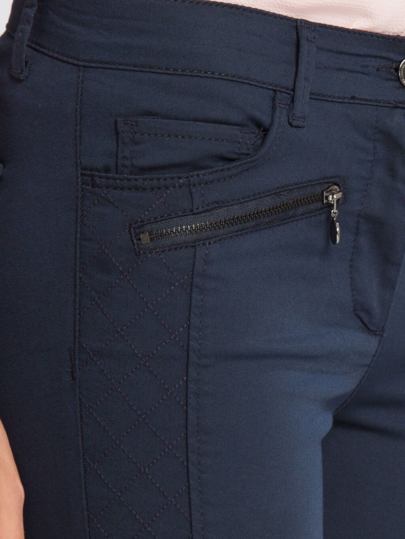 %65 Pamuk %30 Polyester %5 Elastan Lacivert Normal Bel Pantolon