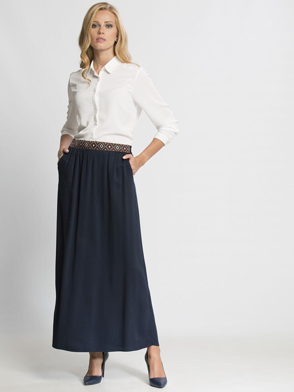 Kadın Lacivert Uzun Düz Etek