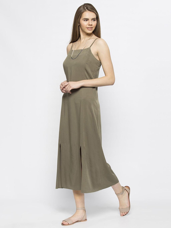 Haki Haki Uzun Düz Kolsuz Elbise 6KG937Z8 LC Waikiki