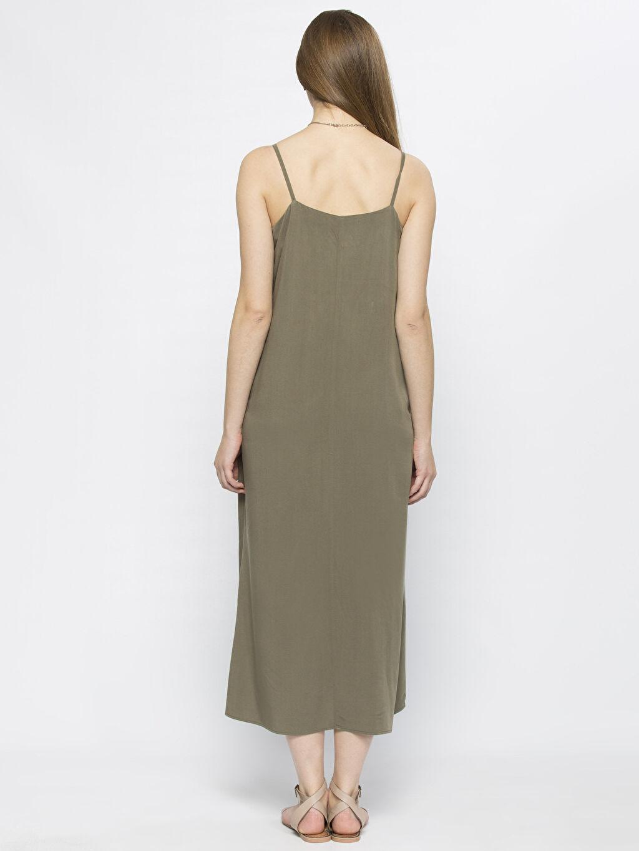 %100 Viskoz Uzun Düz Kolsuz Haki Uzun Düz Kolsuz Elbise