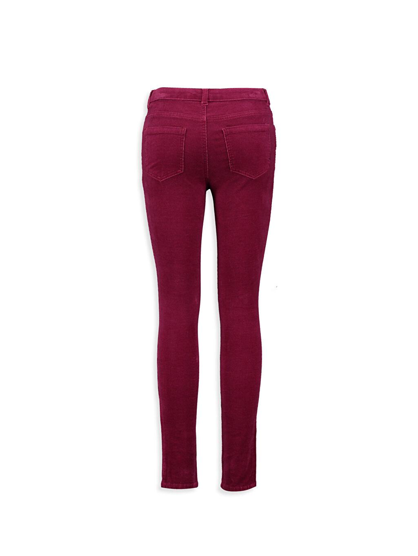 %98 Pamuk %2 Elastan Normal Bel Dar Bordo Normal Bel Dar LCW Young Pantolon