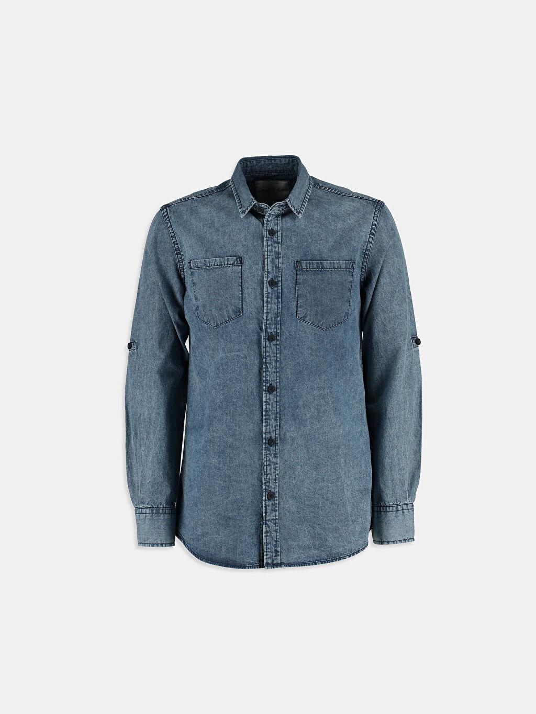 %100 Pamuk Uzun Kol İndigo Uzun Kollu LCW Young Gömlek