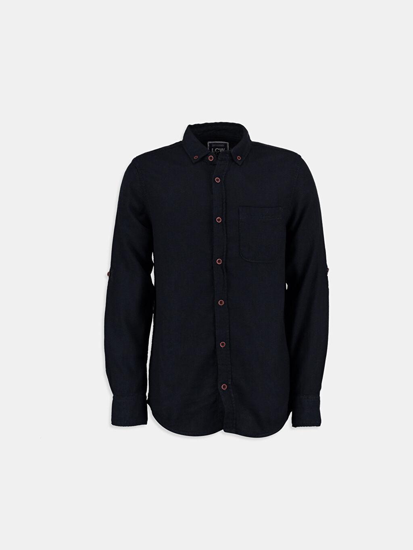 %100 Pamuk Dar Uzun Kol Düz İndigo Düz Dar Uzun Kollu LCW Young Gömlek
