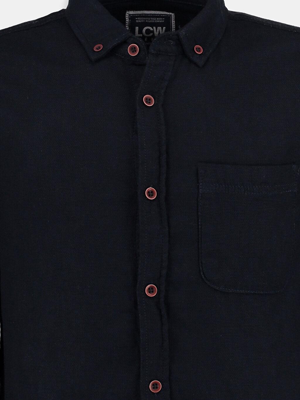 Erkek İndigo Düz Dar Uzun Kollu LCW Young Gömlek