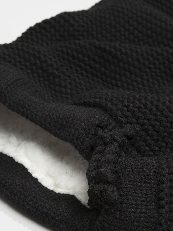 %100 Akrilik %100 Polyester Atkı, Bere ve Eldiven Siyah Kaşkol
