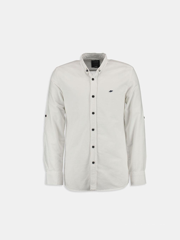 %100 Pamuk Düz Dar Uzun Kol Beyaz Düz Dar Uzun Kollu LCW Young Gömlek