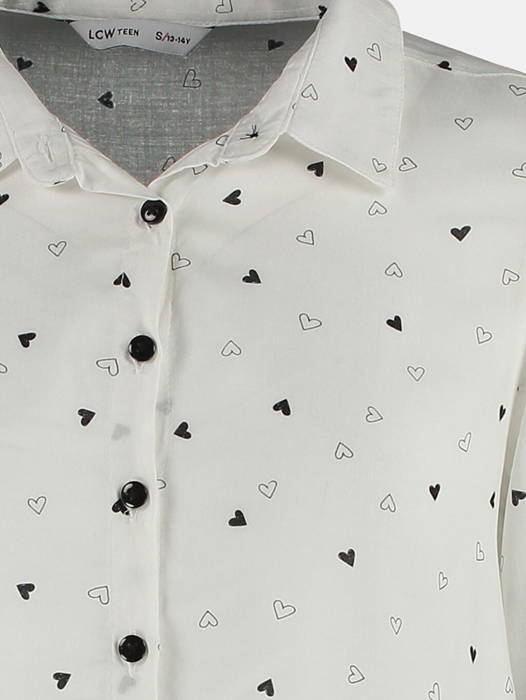 %100 Viskoz Standart Uzun Kol Desenli Ekru Desenli Uzun Kollu LCW Young Gömlek