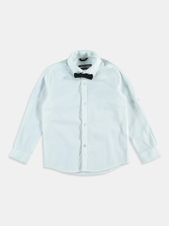 Beyaz Beyaz Düz Uzun Kollu Gömlek 6K8533Z4 LC Waikiki