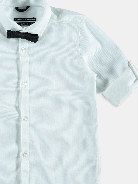 Erkek Çocuk Beyaz Düz Uzun Kollu Gömlek