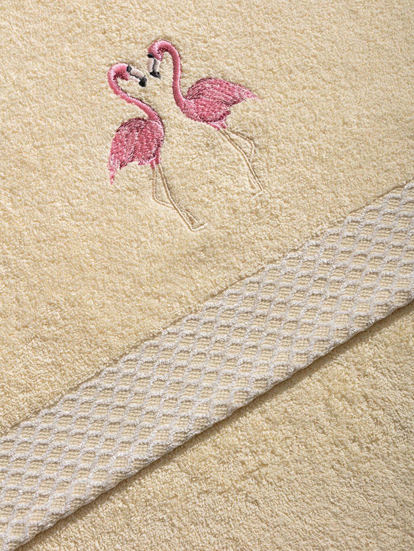 Flamingo Nakışlı Yüz Havlusu