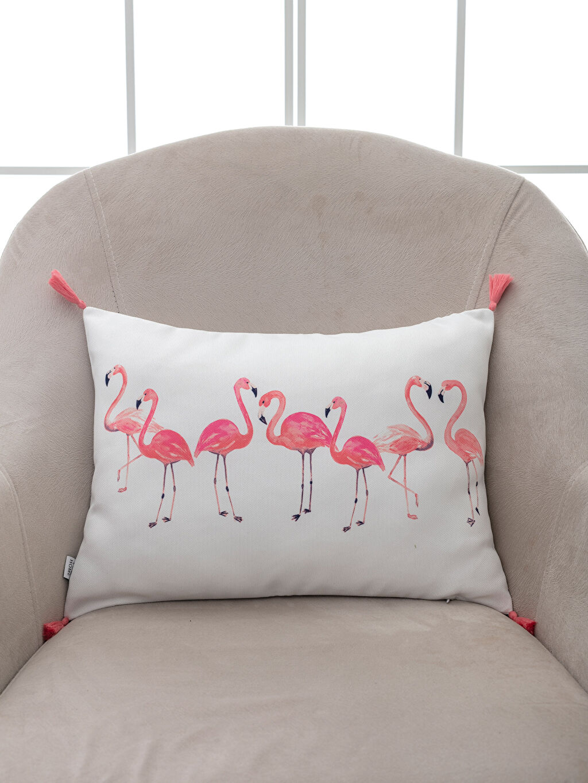 %100 Polyester  Flamingo Baskılı Püskül Detaylı Kırlent Kılıfı