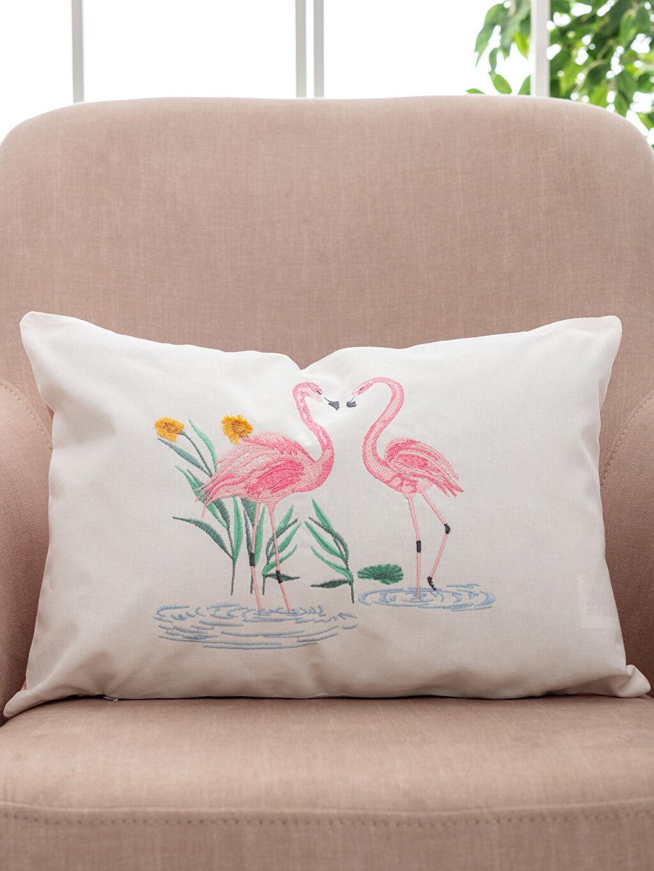 Flamingo Nakışlı Kırlent Kılıfı