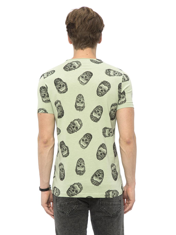 %100 Pamuk Normal V yaka Baskılı Tişört Yeşil Baskılı Normal V yaka Tişört