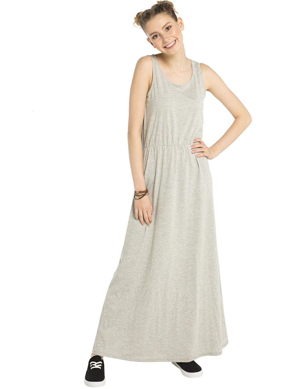 %48 Pamuk %52 Polyester %97 Polyester %3 Elastan  Gri LCW Young Kelebek Baskılı Body ve Uzun Elbise