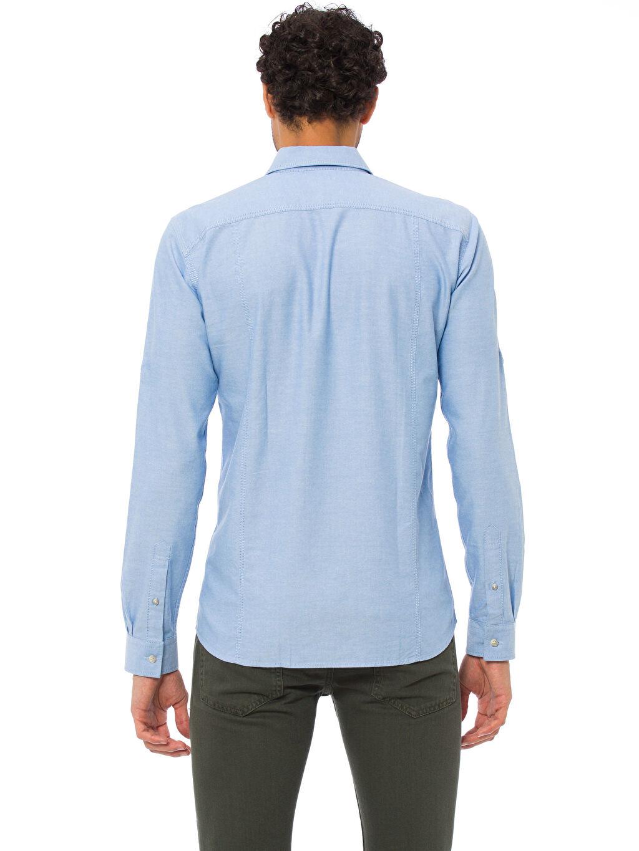 %100 Pamuk Düz Gömlek Düğmesiz Uzun Kol En Dar Extra Slim Fit Kalıp Uzun Kollu Gömlek