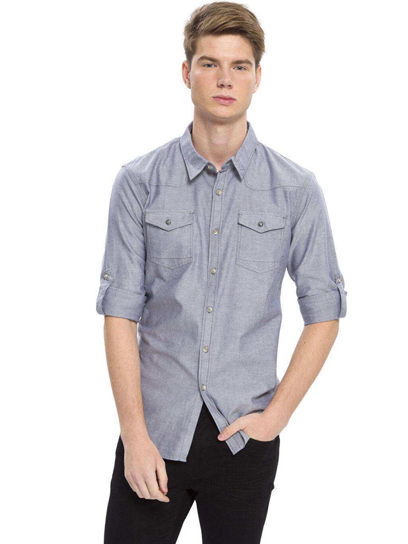 İndigo Extra Slim Fit Kalıp Uzun Kollu Gömlek 7K0494Z8 LC Waikiki