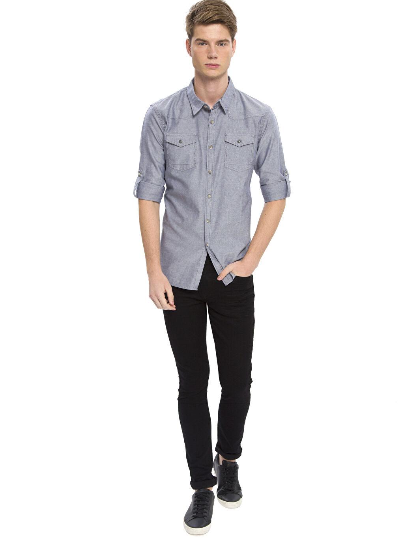 Erkek Extra Slim Fit Kalıp Uzun Kollu Gömlek